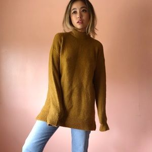 Vintage Cognac Mock Neck Sweater